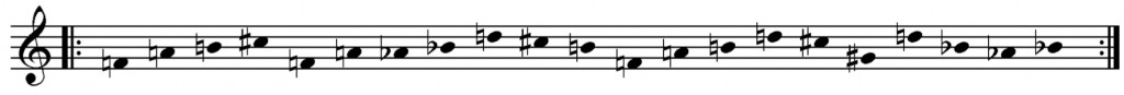 Figure 8 - The 21-unit pitch cycle used by Berio in O King (1967)
